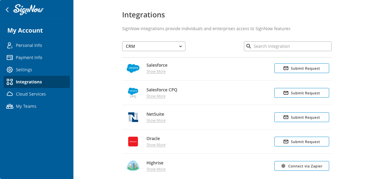 Slide illustrating SignNow integrations