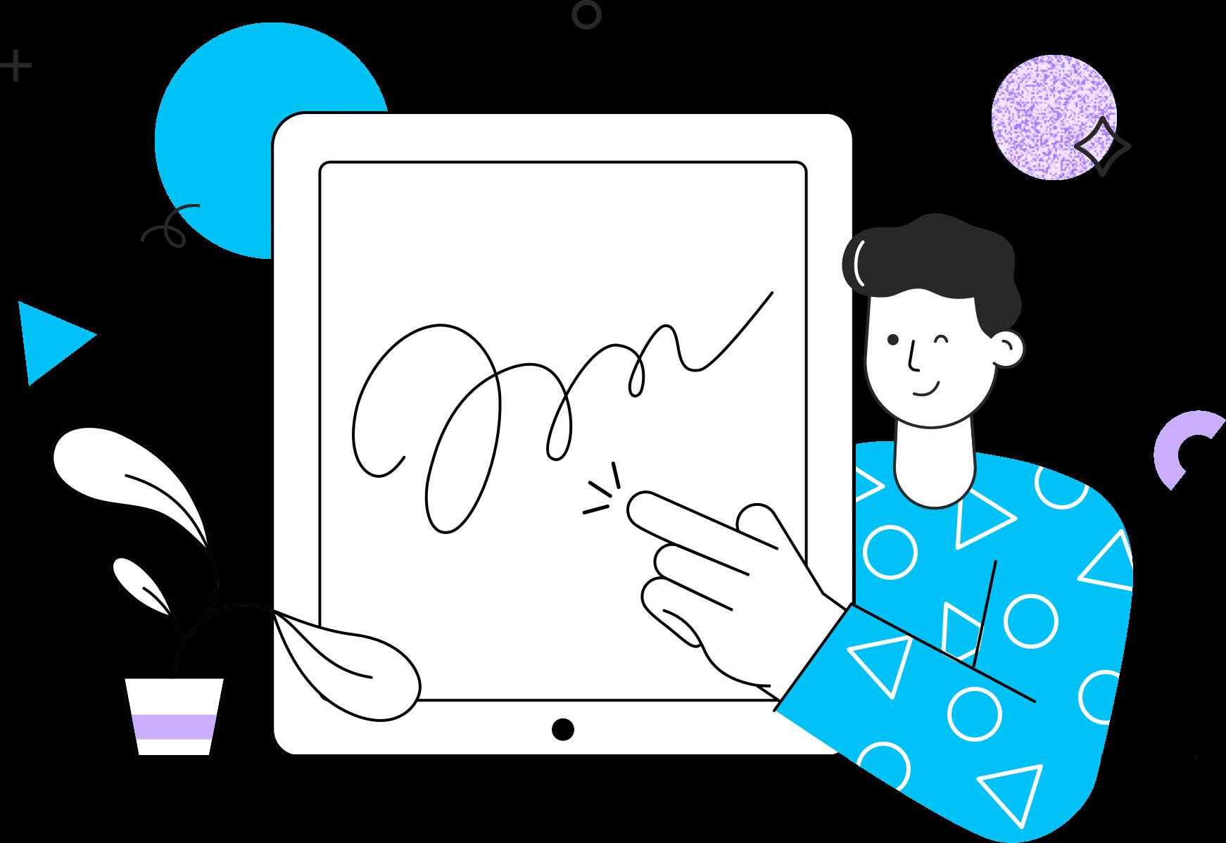 man-signing