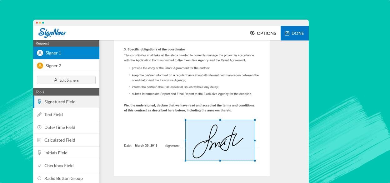 Slide illustrating SignNow e-signature interface