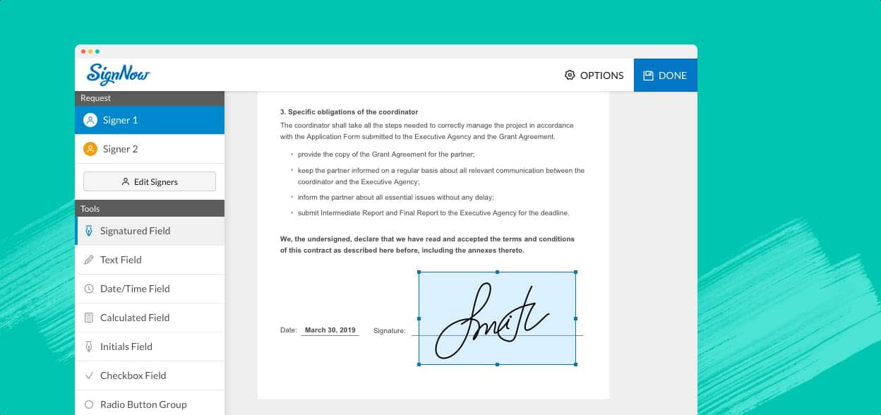 Slide illustrating signNow e-signature interface