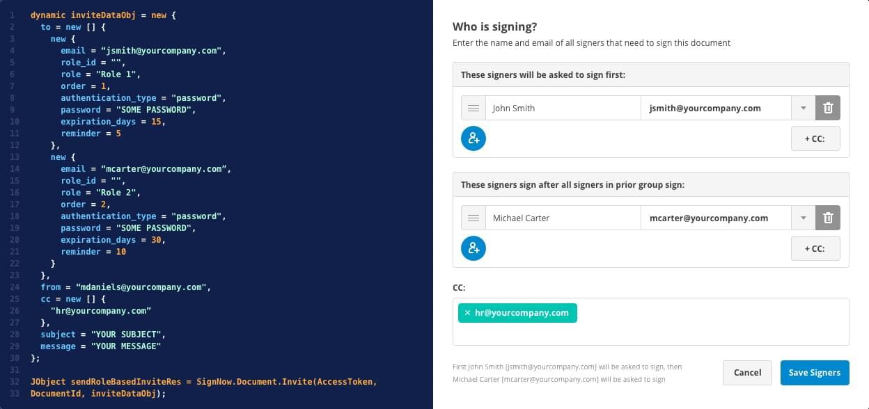 Slide illustrating SignNow API